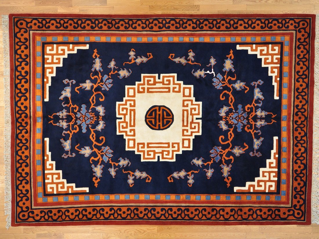 Navy Blue Thick and Plush Chinese Oriental Rug