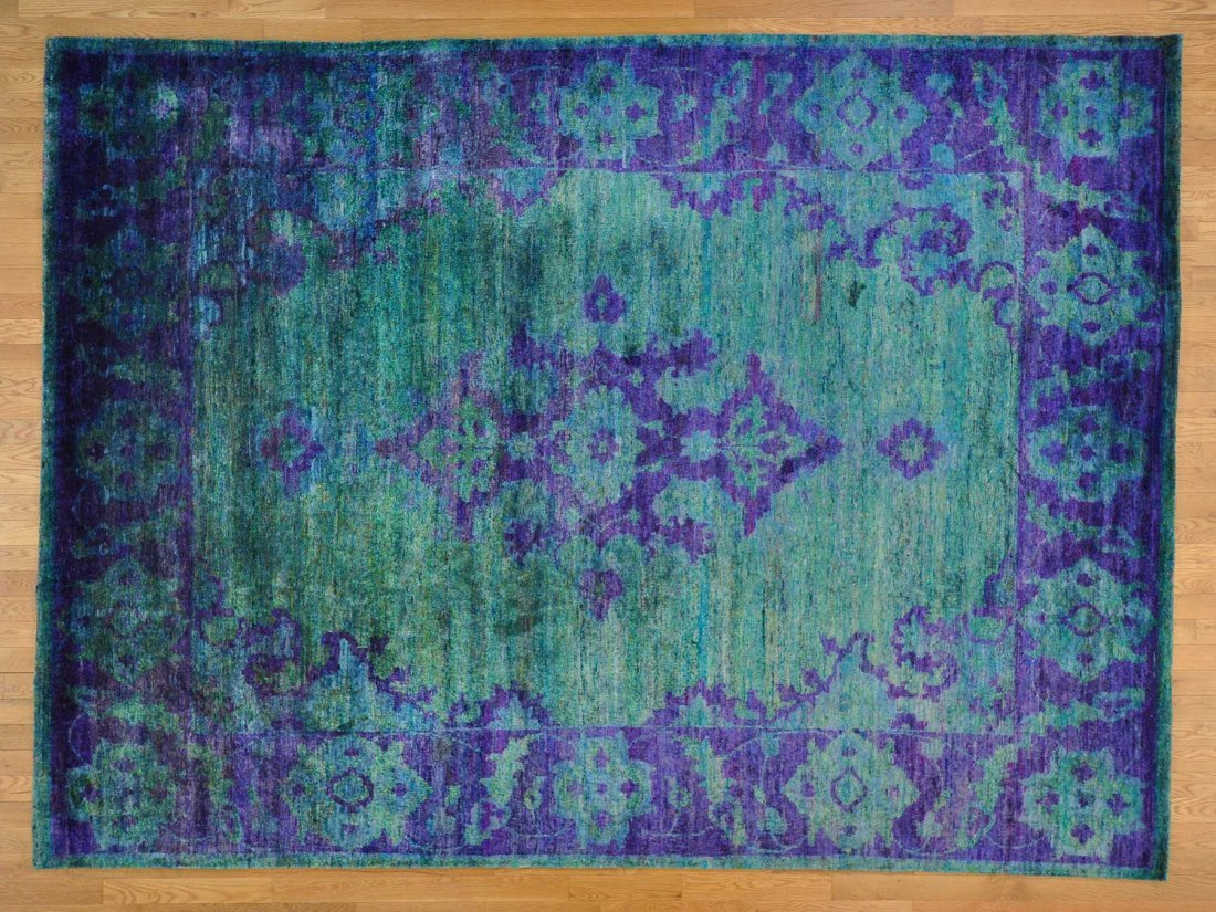 Sari Silk Tabriz Aqua Marine and Purple Oriental Rug