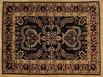 Oriental Rug Black Peshawar Sarouk Design Hand Knotted