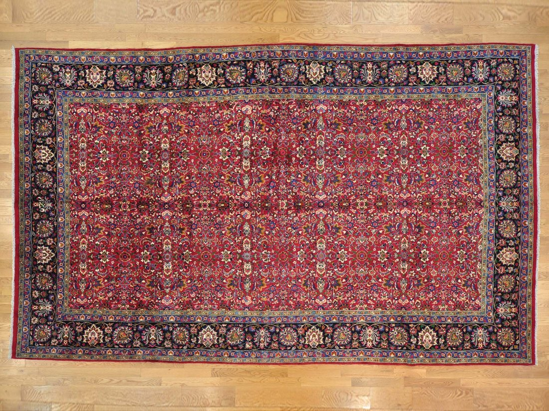 Gallery Size Handmade Semi Antique Persian Mashad Rug