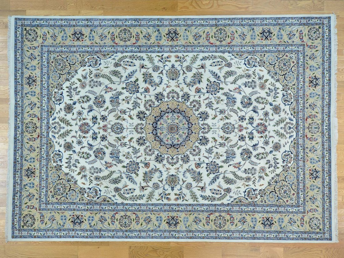 Ivory Nain Wool and Silk Hand Knotted Rug