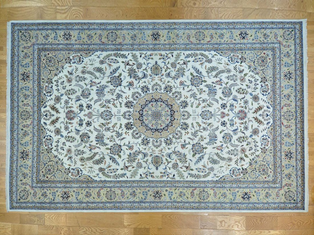 Oversize Nain Wool and Silk Handmade Rug