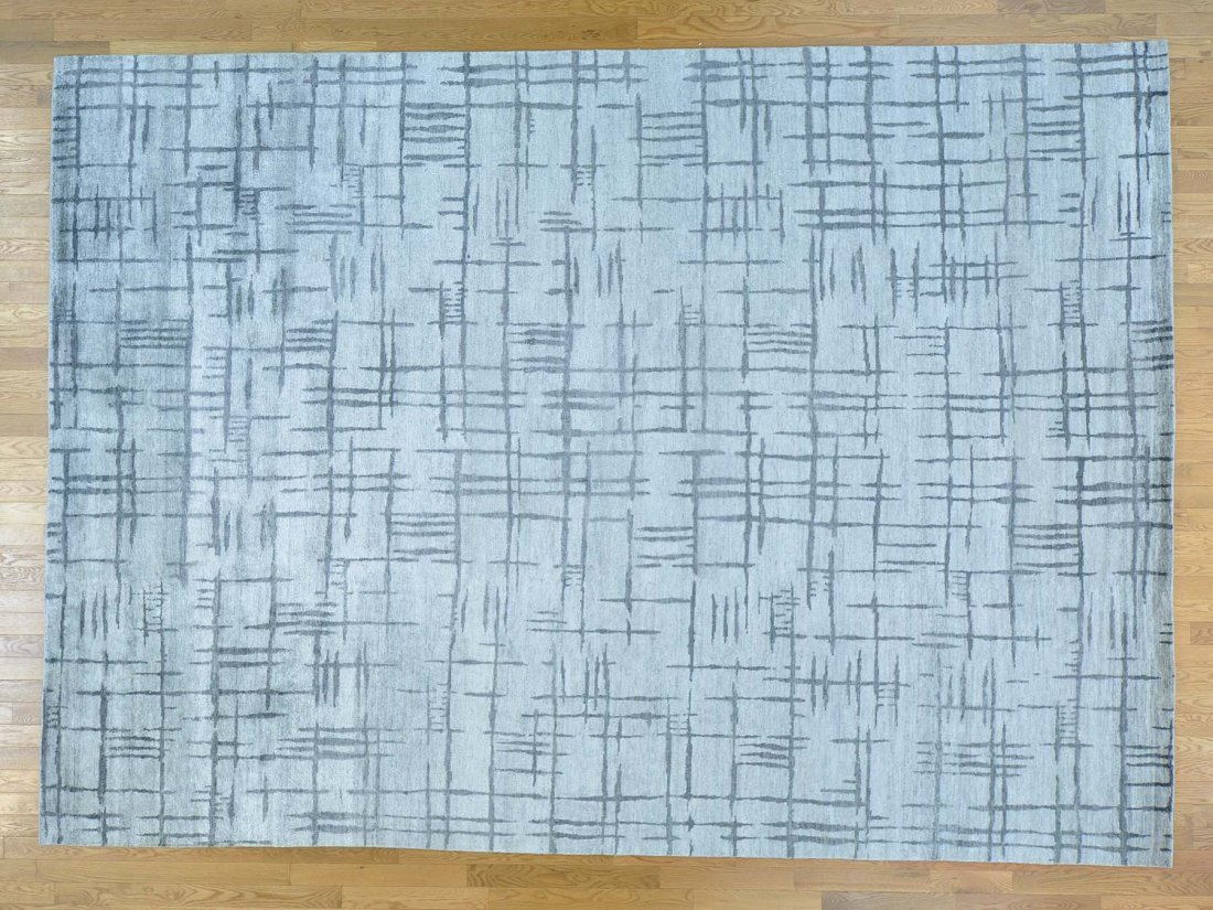Modern Wool and Bamboo Silk Silver Handmade Rug