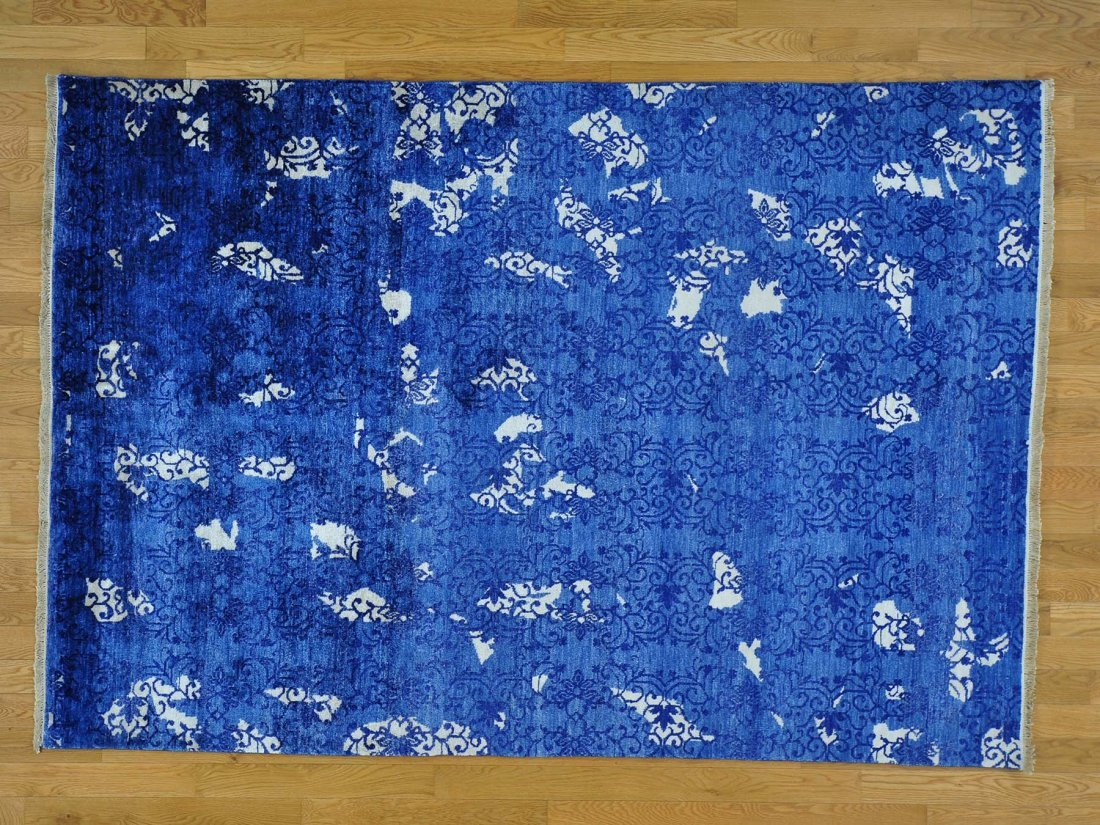 Wool and Bamboo Silk Broken Design Handmade Rug