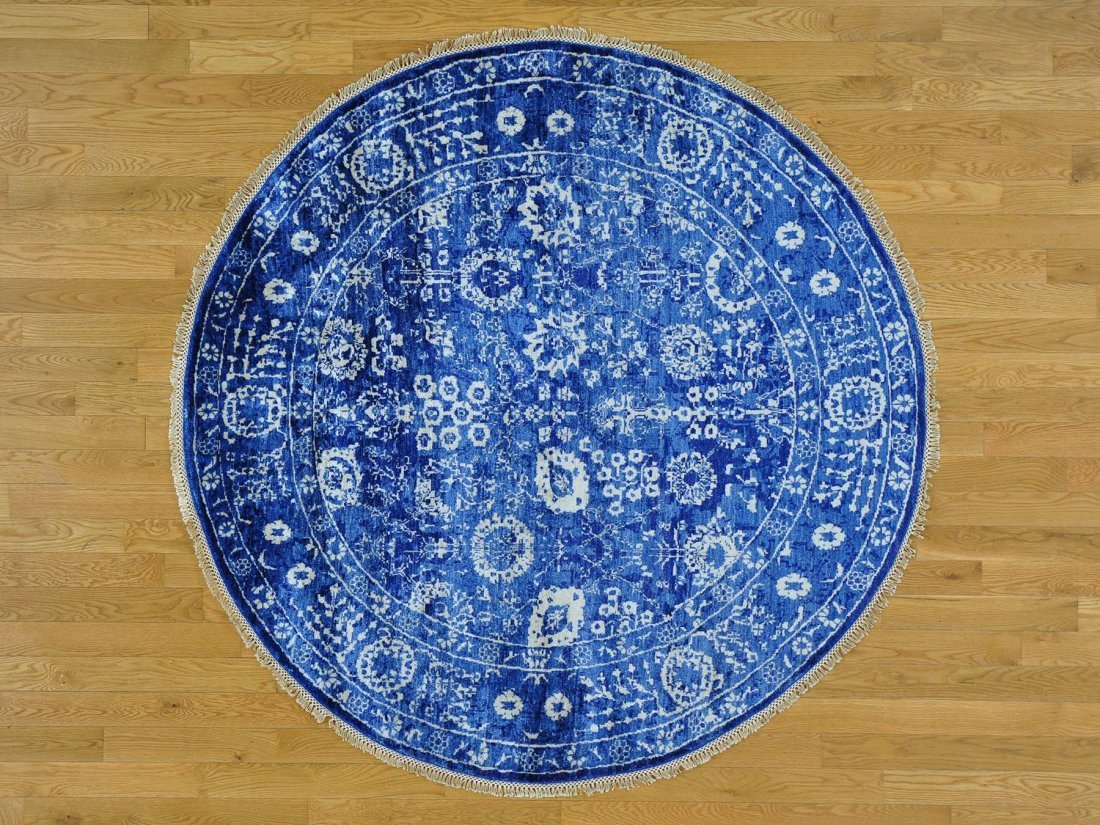 Round Wool and Bamboo Silk Tabriz Hand Knotted Rug