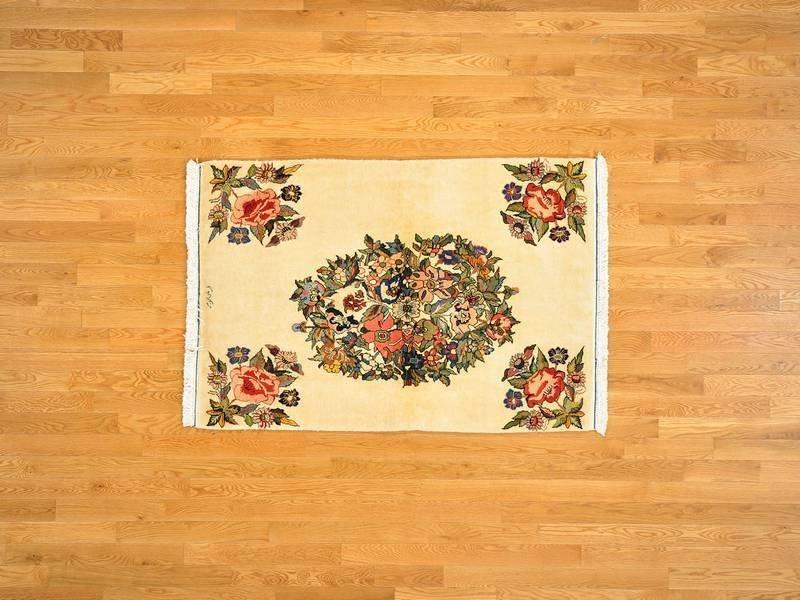 Open Field Persian Sarouk Handmade 100% Wool Signed Rug