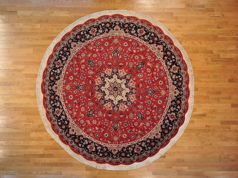 Tabriz Round Rug 400 Kpsi Handmade Wool And Silk Rug