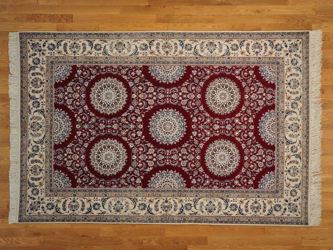 Persian Nain 6x9 Wool and Silk 400 kpsi Handmade Rug