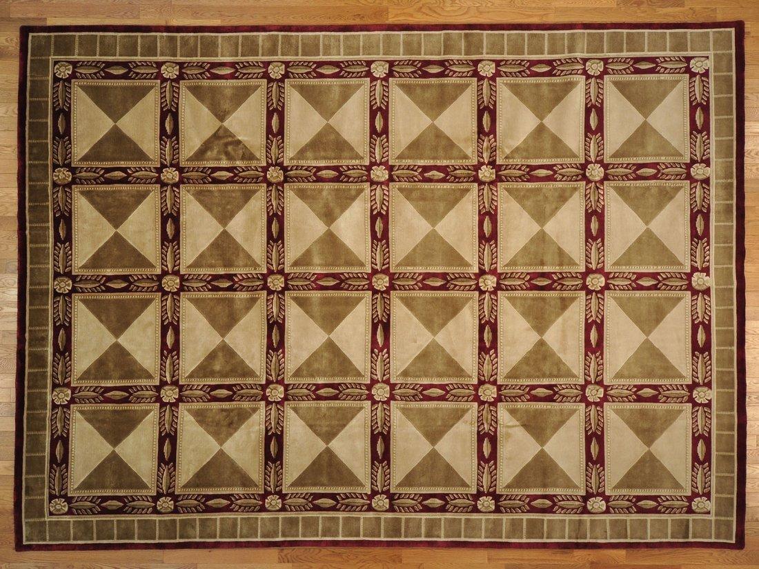 Knotted Neo Classic Nepali Box Design 100% Wool Rug