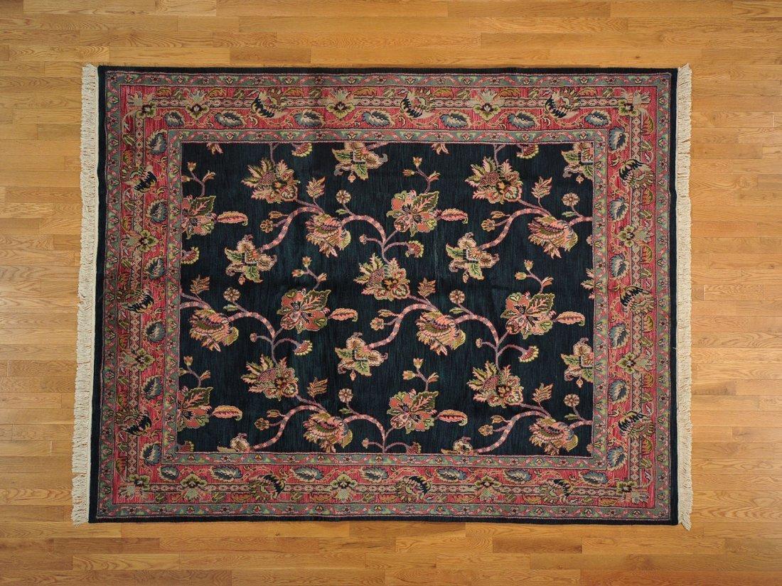 Floral Design Forest Green Agra Handmade 100% Wool Rug