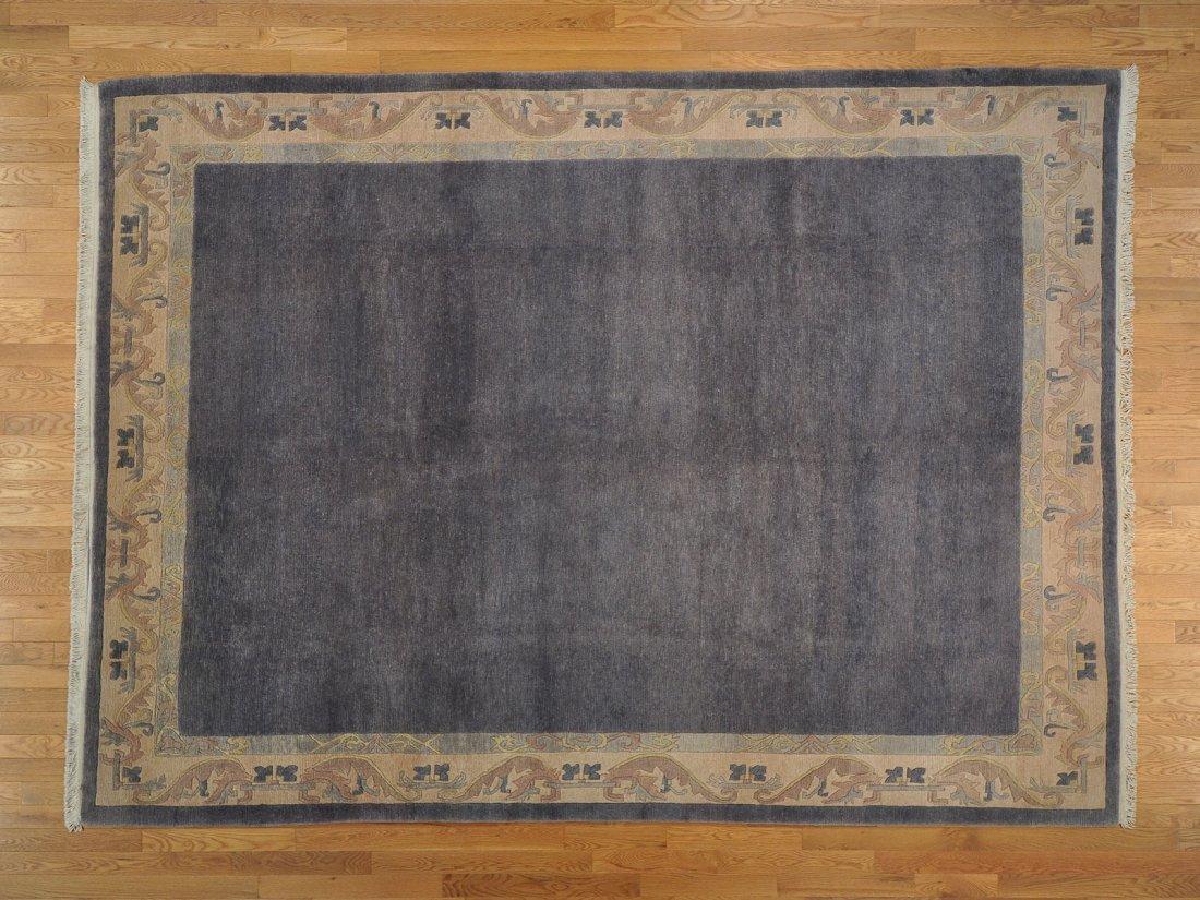 Navy Modern Tibetan 100% Wool Handmade Rug