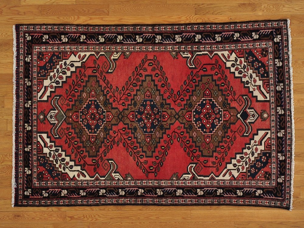 100% Wool Handmade Rust Red Old Persian Hamadan Rug