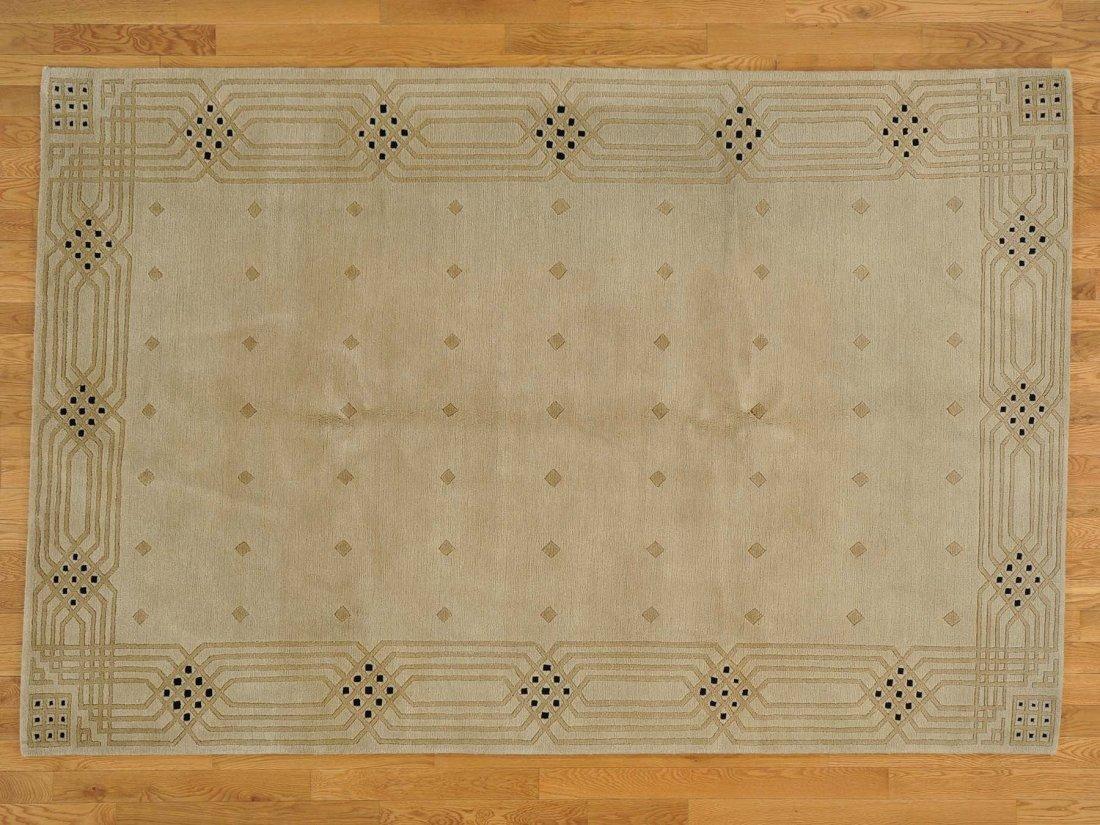 100 Percent Wool Handmade Beige Modern Nepali Rug