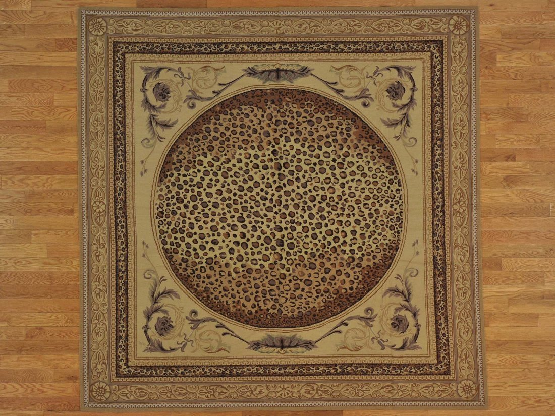 Square Modern Flat Weave Rug Hand Stitched Leopard