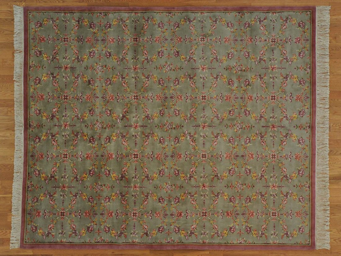Wool and Silk Dense Weave Rug Handmade 300 kpsi
