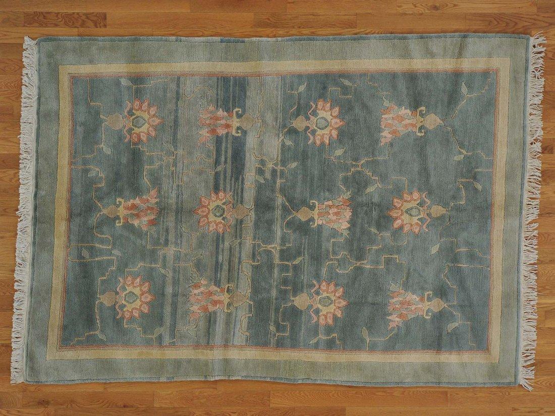 100 Percent Wool Denim Blue Modern Nepali Rug Handmade