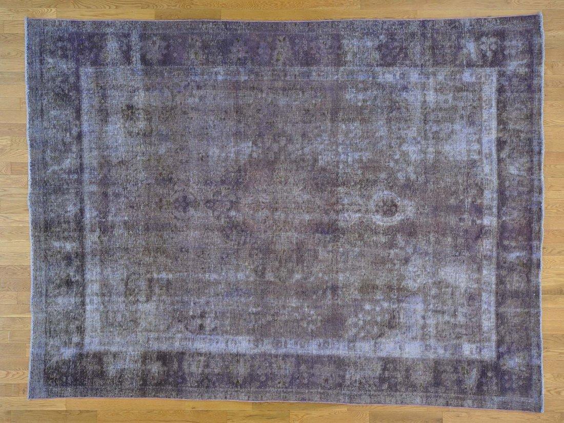 Worn Down Overdyed Old Persian Tabriz Handmade Rug