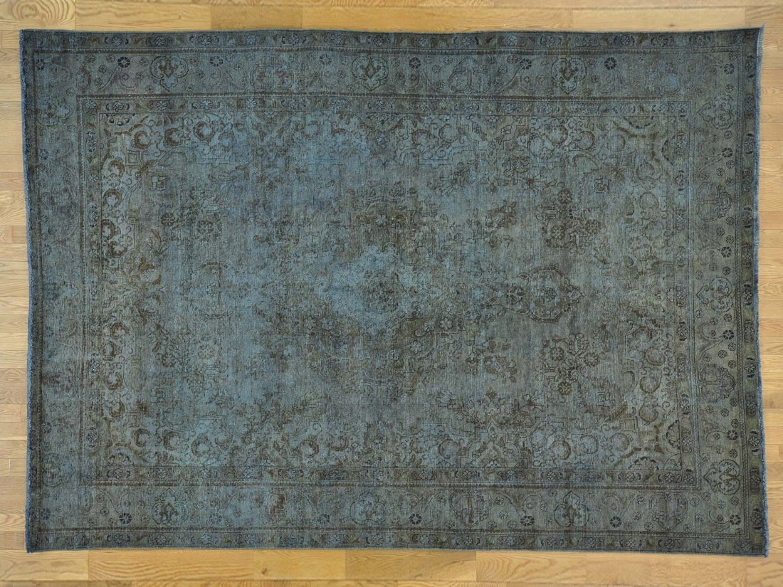 Worn Down Overdyed Handmade Persian Tabriz Rug