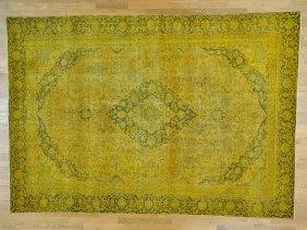 Handmade Overdyed Persian Mashad Pure Wool Rug
