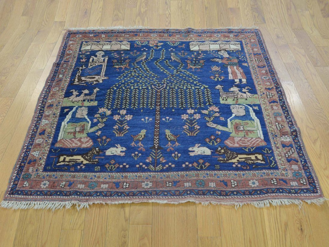 Antique Pictorial Persian Afshar Handmade Square Rug