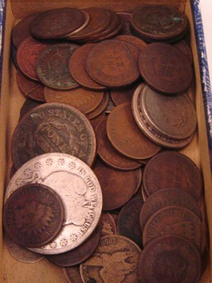 218: Forty Indian Head cents plus 15 Type US- cull to v