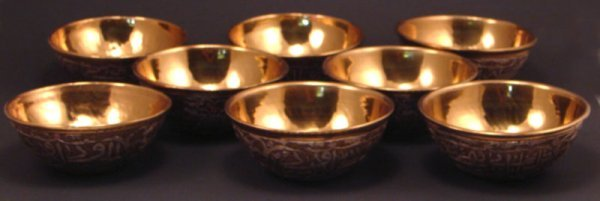 "1002: Eight Silver, Brass & Copper Bowls. 2""h x 5"" diam"