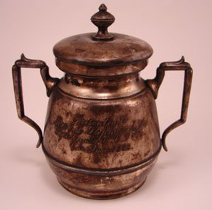 "1013A: Silver Plate covered Large sugar. ""Presented to"