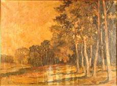 1212A Herrman Signed Oil Painting on Canvas Landscape