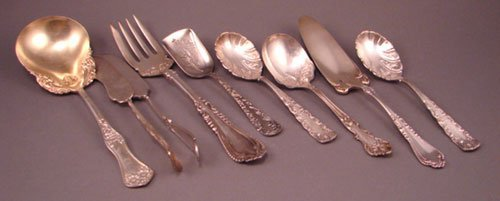 1004B: 9 Misc Silver Plate Flatware & Serving Pieces. V