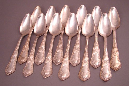 1004C: 12 Wm Rogers & Son Silver Spoons. Pat. May.10.19
