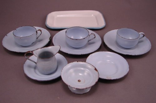 11011: Childs Miniature Enamel Ware Tea Set, many chips