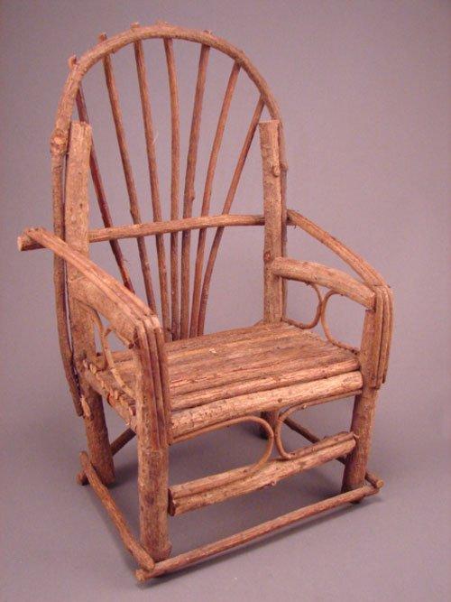 "11013: Miniature bentwood Adirondack rustic chair. 14""h"