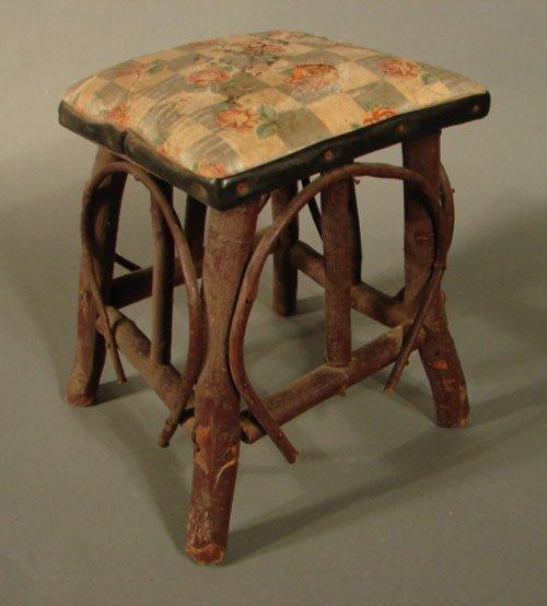 "11014: Childs Adirondack rustic footstool. 13 3/4""h x 1"