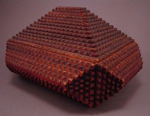 """11016: Tramp art wooden box. 5 1/2""""h x 9""""w x 7""""d"""
