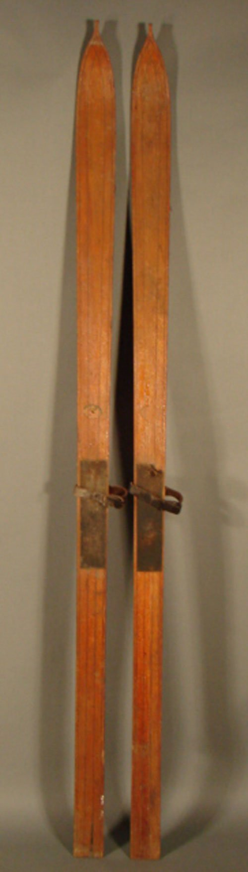"""11017: Wooden skis with leather straps. Partial label """""""
