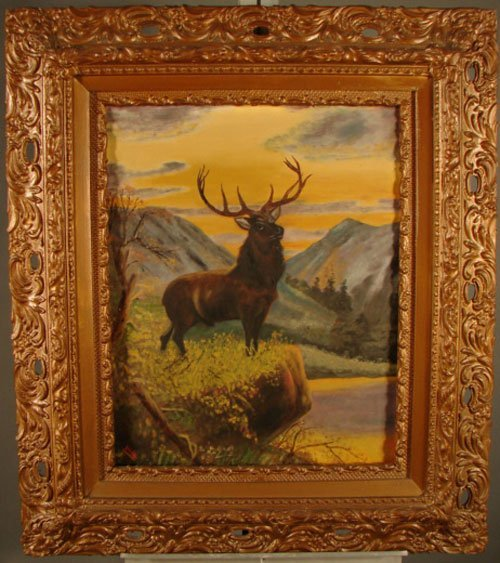 11022: Artist signed oil painting on canvas of Elk. Sig