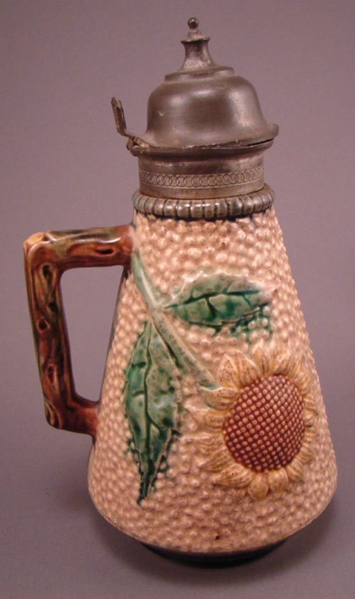 """11077: Majolica pitcher with pewter top. 8 1/4""""h x 4 1/"""