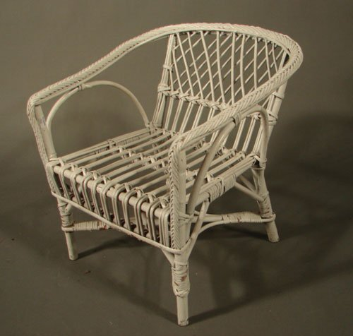 11009: Miniature child's wicker arm chair in white fini