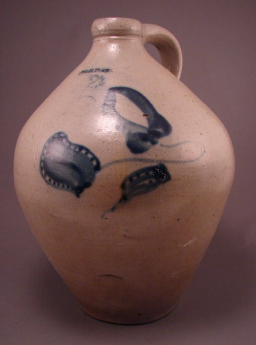 11126: Jordan 2 gallon Stoneware jug with blue floral d