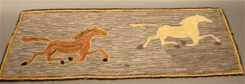 """11252: Hooked rug with two horses running. 65 1/2""""W x 2"""