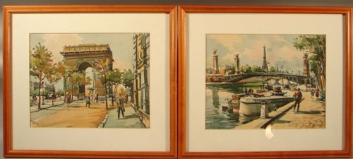 11001: Two Seguie Signed French Watercolor Painting on