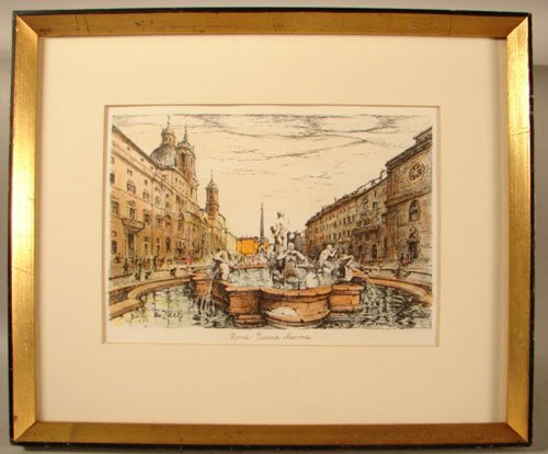 """11002: De Parly ? Color Lithograph Print. Titled """"Roma"""