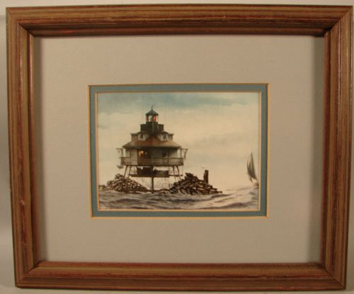 11005: Color Lithograph Print, Lighthouse. Framed and d