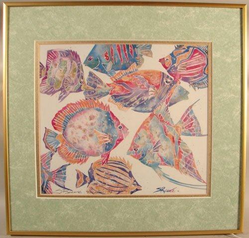 11006: Artist Signed Nautical Print, Tropical Fish. Art