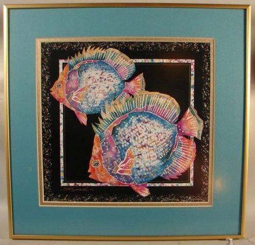 11007: Artist Signed Nautical Print, Tropical Fish. Art