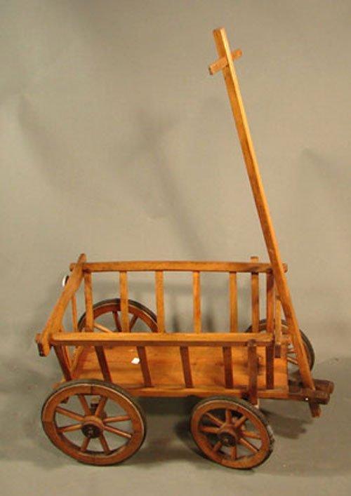 "11012A: Antique Child's Wooden Cart. 42 1/2""h x 28"" x 1"