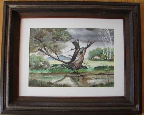 11208A: John E. Detore Signed Watercolor Painting on Pa