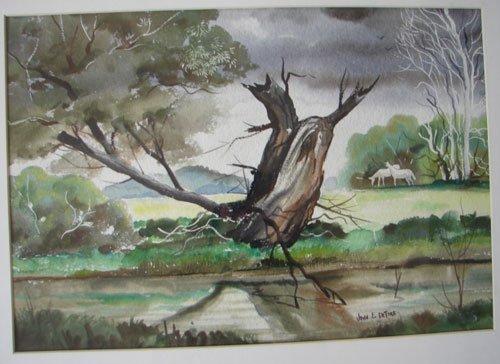 11208A: John E. Detore Signed Watercolor Painting on Pa - 2