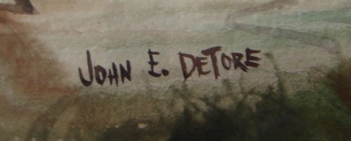 11208A: John E. Detore Signed Watercolor Painting on Pa - 3