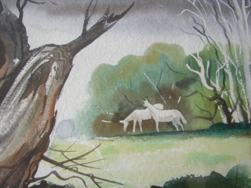 11208A: John E. Detore Signed Watercolor Painting on Pa - 4